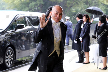 Cambodian King Norodom Sihamoni arrives at the Imperial Palace to attend the proclamation ceremony of Japan's Emperor Naruhito in Tokyo