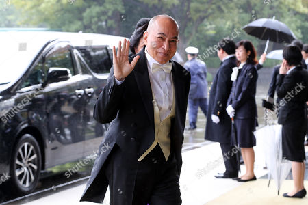 Cambodian King Norodom Sihamoni (C) arrives at the Imperial Palace to attend the proclamation ceremony of Japan's Emperor Naruhito in Tokyo, Japan, 22 October 2019.