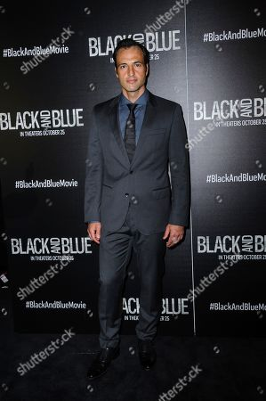 """Kresh Novakovic attends the special screening of """"Black and Blue"""", hosted by Screen Gems and The Cinema Society, at the Regal E-Walk, in New York"""