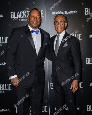 "Stock Photo of Deon Taylor, left, and Reverend Al Sharpton attend the special screening of ""Black and Blue"", hosted by Screen Gems and The Cinema Society, at the Regal E-Walk, in New York"