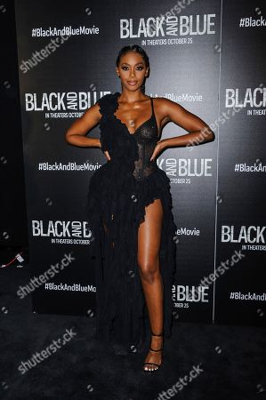 """Nafessa Williams attends the special screening of """"Black and Blue"""", hosted by Screen Gems and The Cinema Society, at the Regal E-Walk, in New York"""