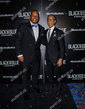 "Stock Picture of Deon Taylor, left, and Reverend Al Sharpton attend the special screening of ""Black and Blue"", hosted by Screen Gems and The Cinema Society, at the Regal E-Walk, in New York"