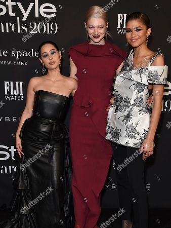 Stock Image of Alexa Demie, Hunter Schafer, Zendaya. Alexa Demie, from left, Hunter Schafer and Zendaya arrive at the 5th annual InStyle Awards, at the Getty Center in Los Angeles