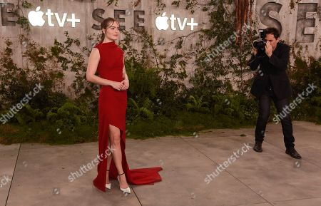 """Hera Hilmar, a cast member in the Apple TV+ series """"See,"""" poses at the premiere at the Regency Village Theatre, in Los Angeles"""