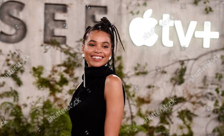 """Nesta Cooper, a cast member in the Apple TV+ series """"See,"""" poses at the premiere at the Regency Village Theatre, in Los Angeles"""
