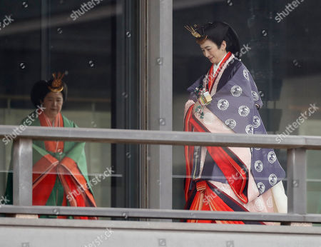 Japan's Crown Princess Princess Kiko (R) arrives for a ceremony to proclaim Emperor Naruhito's enthronement to the world, called Sokuirei-Seiden-no-gi, at the Imperial Palace in Tokyo, Japan, 22 October 2019.