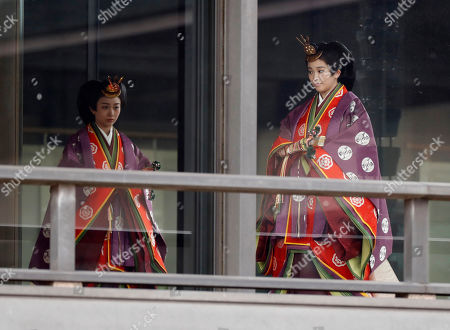 Japan's Princess Kako and Princess Mako arrive for a ceremony to proclaim Emperor Naruhito's enthronement to the world, called Sokuirei-Seiden-no-gi, at the Imperial Palace in Tokyo, Japan, 22 October 2019.