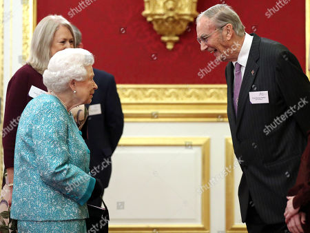 Stock Picture of Queen Elizabeth II meeting Colin Murray-Parkes OBE, aged 91, the Cruse Bereavement Care charity's longest-serving volunteer during a reception to mark the 60th anniversary of Cruse Bereavement Care at St James's Palace in London.
