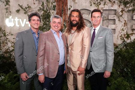 "Jamie Erlicht, Head of Worldwide Video for Apple, Eddy Cue, SVP of Internet Software and Services for Apple, Jason Momoa and Zack Van Amburg, Head of Worldwide Video for Apple, at the ""See"" Apple TV+ World Premiere Event at the Regency Village Theater in Los Angeles, California."