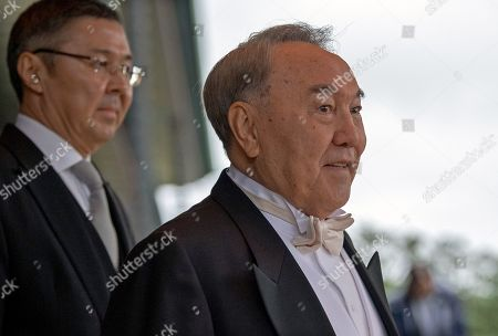 Former President of Kazakhstan, Nursultan Nazarbayev leaves the Imperial Palace after attending the enthronement ceremony of Japan's Emperor Naruhito, in Tokyo, Japan, 22 October 2019. Some 2,000 guests from Japan and dignitaries from over 180 countries are expected to attend the enthronement ceremony.