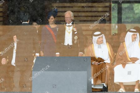 King Carl ?? Gustav (C-R) and Crown Princess Victoria of Sweden (C-L) arrive for the enthronement ceremony at the Imperial Palace in Tokyo, Japan, 22 October 2019. Japan will stage an elaborate ceremony with sacred treasures and host a series of banquets for global royalty and political leaders to mark the enthronement of Emperor Naruhito in the world?s oldest hereditary monarchy.   Some 2,000 guests from Japan and dignitaries from over 180 countries are expected to attend the enthronement ceremony.