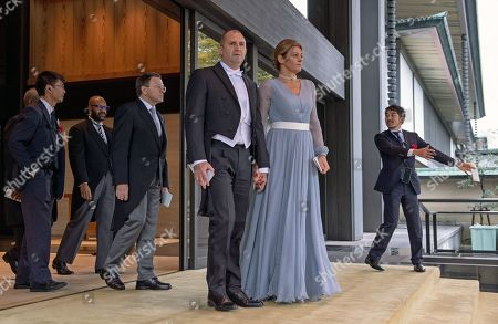President of Bulgaria, Rumen Radev and his wife Desislava Radeva leave the Imperial Palace after attending the enthronement ceremony of Japan's Emperor Naruhito, in Tokyo, Japan, 22 October 2019. Some 2,000 guests from Japan and dignitaries from over 180 countries are expected to attend the enthronement ceremony.
