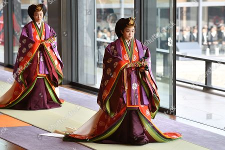 Japan's Princess Mako (R) attends the enthronement ceremony where Emperor Naruhito officially proclaimed his ascension to the Chrysanthemum Throne at the Imperial Palace in Tokyo, Japan, 22 October 2019.