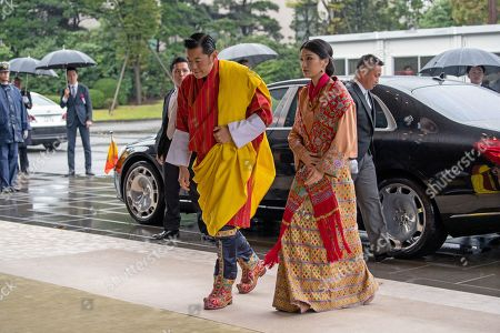 King Jigme Khesar Namgyel Wangchuck and Queen Jetsun Pema of Bhutan arrive at the Imperial Palace to attend the enthronement ceremony of Japan's Emperor Naruhito, in Tokyo, Japan, 22 October 2019. Some 2,000 guests from Japan and dignitaries from over 180 countries are expected to attend the enthronement ceremony.