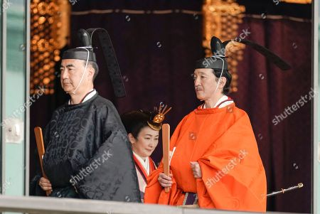 Japanese Crown Prince Akishino (R) leaves the ceremony hall with Crown Princess Kiko (C-Rear) after a ceremony proclaming his brother Emperor Naruhito's enthronement at the Imperial Palace in Tokyo, Japan, 22 October 2019. Naruhito ascended the throne on 01 May 2019 after his father Emperor Emeritus Akihito abdicated on 30 April 2019.
