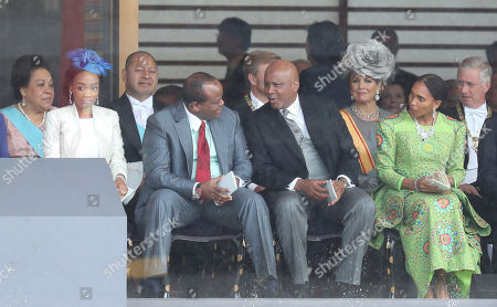 King Letsie III of Lesotho (second right) and Queen 'Masenate Mohato Seeiso (R) attend the Enthronement Ceremony of Emperor Naruhito at the Imperial Palace