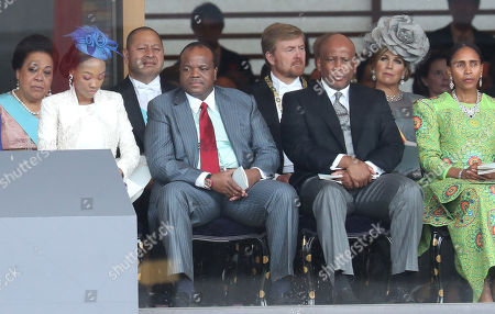 Stock Picture of King Letsie III of Lesotho (second right) and Queen 'Masenate Mohato Seeiso (R) attend the Enthronement Ceremony of Emperor Naruhito at the Imperial Palace