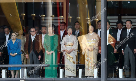 Stock Picture of Mother of Prime Minister Shinzo Abe, Yoko Abe (L), Hitomi Noda (third right) former PM of Japan Yoshihiko Noda (second right) and guests attend the Enthronement Ceremony of Emperor Naruhito at the Imperial Palace