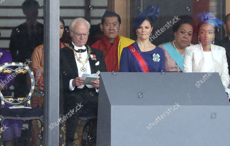 King Carl Gustaf of Sweden and Crown Princess Victoria of Sweden attend the Enthronement Ceremony of Emperor Naruhito at the Imperial Palace