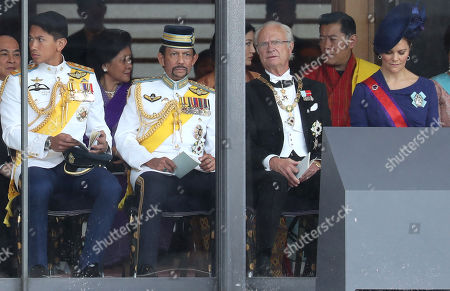 (from second left) Sultan of Brunei, King Carl Gustaf of Sweden, King of Bhutan, King Jigme Khesar Namgyel Wangchuck, Crown Princess Victoria of Sweden and guests attend the Enthronement Ceremony of Emperor Naruhito at the Imperial Palace