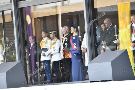 Sultan of Brunei, King Carl Gustaf of Sweden and Crown Princess Victoria of Sweden and guests attend the Enthronement Ceremony of Emperor Naruhito at the Imperial Palace