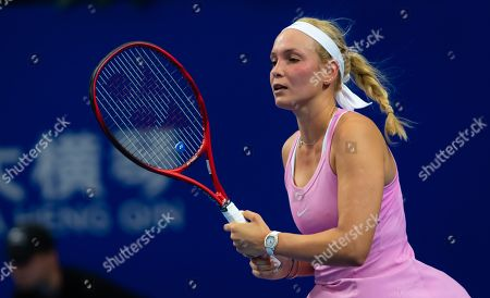 Donna Vekic of Croatia in action during her RR1 match at the 2019 WTA Elite Trophy tennis tournament