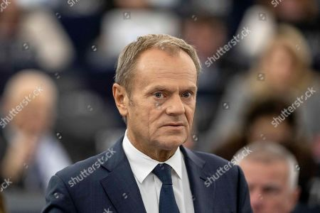 European Council President Donald Tusk delivers his speech at the European Parliament in Strasbourg. Britain faces another week of political gridlock after British lawmakers on Monday denied Prime Minister Boris Johnson a chance to hold a vote on the Brexit divorce bill agreed in Brussels last Thursday