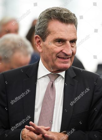 German EU Commissioner for budget and human resources Guenther Oettinger listens to a speech at the Review of the Juncker Commission at the European Parliament in Strasbourg, France, 22 October 2019.