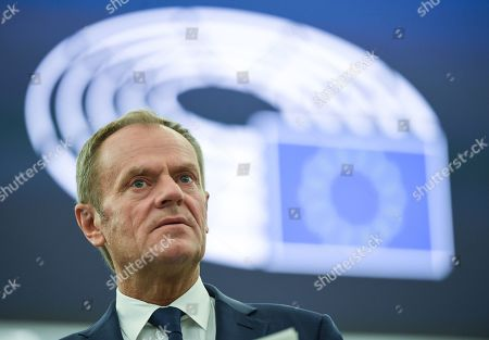 European Council President Donald Tusk speaks at a debate on the last EU summit and Brexit at the European Parliament in Strasbourg, France, 22 October 2019.
