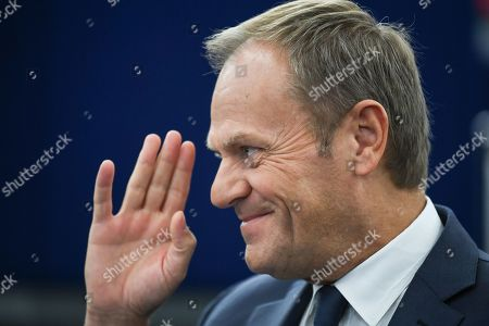 European Council President Donald Tusk waves during a debate on the last EU summit and Brexit at the European Parliament in Strasbourg, France, 22 October 2019.