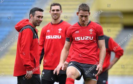 Stephen Jones, George North and Liam Williams during training.