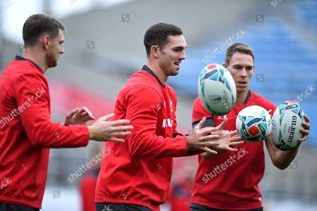 Dan Biggar, George North and Liam Williams during training.