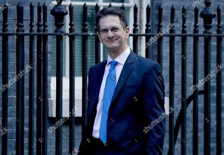 British Conservative Party Member of Parliament and Chairman of the European Research Group (ERG) Steve Baker arrives at 10 Downing Street in London, . British Prime Minister Boris Johnson's European Union divorce bill faces two votes Tuesday, with lawmakers first being asked to approve it in principle, followed by a vote on the government's schedule for debate and possible amendments