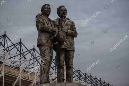The Brian Clough and Peter Taylor statue outside the ground