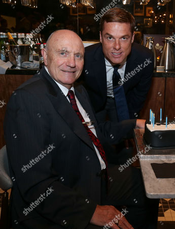 George Cohen MBE (1966 World Cup Winner) celebrates his 80th birthday with a cake at Fulham - with Fulham Manager Scott Parker