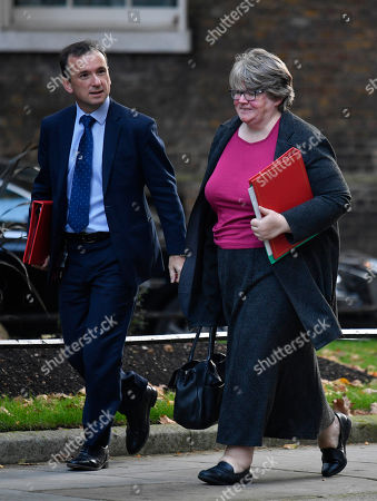 Britain's Wales Secretary Alun Cairns (L) and Work and Pensions Secretary Therese Coffey (R) arrive to attend a cabinet meeting at 10 Downing Street in London, Britain, 22 October 2019. Later the day, the Government will be proposing a three-days debate in the Commons on its latest version of the EU Withdrawal Agreement Bill.