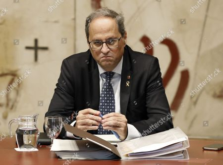 Catalan regional President Quim Torra chairs the weekly regional cabinet meeting in Barcelona, Spain, 22 October 2019. The cabinet meeting is the first one after a week of clashes between police and protesters against the Supreme's court sentence against Catalan leaders condemned for sedition and embezzlement. Catalonia region in Spain witnessed massive demonstrations and riots since the Spanish Supreme Court's 13 October ruling of prison terms against the Catalan political leaders accused of organizing the Catalan illegal referendum held in October 2017.