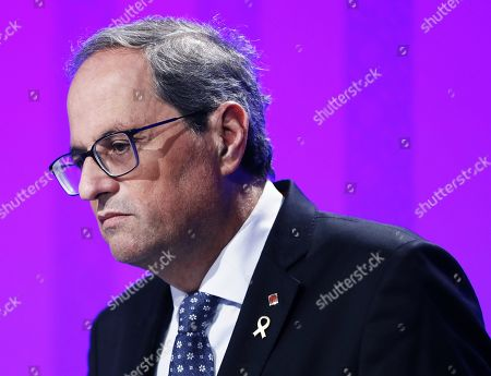 Stock Image of Catalan regional President Quim Torra addresses a press conference after the regional weekly cabinet meeting in Barcelona, Spain, 22 October 2019. The cabinet meeting is the first one after a week of clashes between police and protesters against the Supreme's court sentence against Catalan leaders condemned for sedition and embezzlement. Catalonia region in Spain witnessed massive demonstrations and riots since the Spanish Supreme Court's 13 October ruling of prison terms against the Catalan political leaders accused of organizing the Catalan illegal referendum held in October 2017.