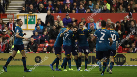 Hull City celebrate taking the lead through Jared Bowen after good work by Jon Toral.