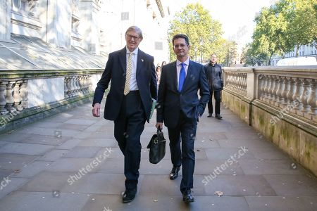 Members of European Research Group (ERG) Sir Bill Cash (L) and Steve Baker (R) are seen in Whitehall, Westminster.