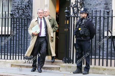 Members of European Research Group (ERG) Owen Paterson and Iain Duncan Smith (rear) departs from No 10 Downing Street