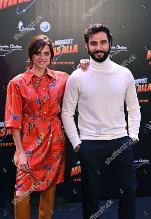 Antonio Velazquez (R) and Macarena Gomez (L) pose during the presentation of the film 'Los Rodriguez y el Mas Alla' (lit. The Rodriguez family and the hereafter) in Madrid, Spain, 22 October 2019.