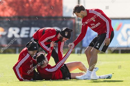 Benfica's players (L-R) Andre Almeida, Pizzi, Rafa Silva and Ruben Dias in action during a training session at the team's sport complex Seixal, Portugal, 22 October 2019. Benfica prepares its upcoming UEFA Champions League's Group G soccer match against Lyon on 23 October.