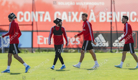 Benfica's players (L-R) Andre Almeida, Rafa Silva, Ruben Dias and Pizzi in action during a training session at the team's sport complex Seixal, Portugal, 22 October 2019. Benfica prepares its upcoming UEFA Champions League's Group G soccer match against Lyon on 23 October.