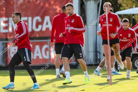 Benfica's players (L-R) Raul de Tomas, Haris Seferovic, Ljubomir Fejsa and Andrija Zivkovic  in action during a training session at the team's sport complex Seixal, Portugal, 22 October 2019. Benfica prepares its upcoming UEFA Champions League's Group G soccer match against Lyon on 23 October.