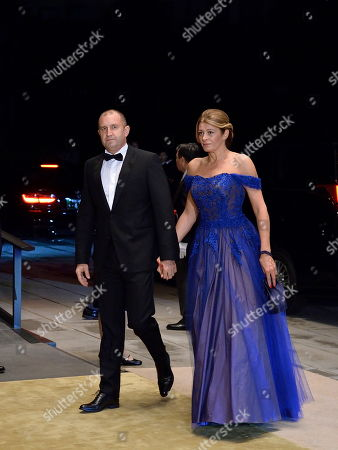 President of Bulgaria, Rumen Radev (L) and his wife Desislava Radeva arrive at the Imperial Palace for the Court Banquet after the Ceremony of the Enthronement of Emperor Naruhito in Tokyo, Japan, 22 October 2019. Some 400 guests from Japan and international head of states were reported to attend the 'Kyoen-no-gi' banquet.