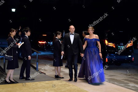 President of Bulgaria, Rumen Radev (C) and his wife Desislava Radeva arrive at the Imperial Palace for the Court Banquet after the Ceremony of the Enthronement of Emperor Naruhito in Tokyo, Japan, 22 October 2019. Some 400 guests from Japan and international head of states were reported to attend the 'Kyoen-no-gi' banquet.