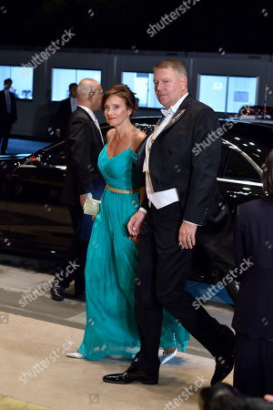 Romanian President Klaus Iohannis (R) and his wife Carmen Georgeta Lazurca arrive at the Imperial Palace for the Court Banquet after the Ceremony of the Enthronement of Emperor Naruhito in Tokyo, Japan, 22 October 2019. Some 400 guests from Japan and international head of states were reported to attend the 'Kyoen-no-gi' banquet.