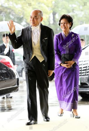 Cambodian King Norodom Sihamoni (L) arrives at the Imperial Palace to attend the enthronement ceremony of Japan's Emperor Naruhito, in Tokyo, Japan, 22 October 2019. Some 2,000 guests from Japan and dignitaries from over 180 countries are expected to attend the enthronement ceremony.