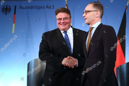 Minister of Foreign Affairs of Lithuania Linas Antanas Linkevicius (L) and Minister of Foreign Affairs Heiko Maas shake hands after a joint press conference at the German Federal Foreign Office in Berlin, Germany, 22 October 2019. Lithuanian Foreign Minister Linkevicius met the German counterpart in the German capital and had a conversation on bilateral issues.